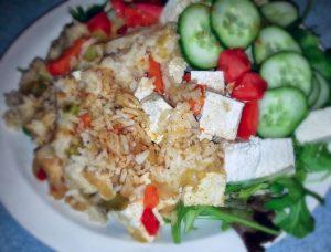 rice and tofu with salad