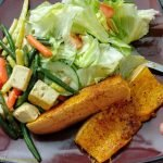 Butternut squash with mixed veg and salad