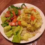 Cabbage stirfry with a simple salad