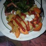 Cooked greens with sweet potato and white potato