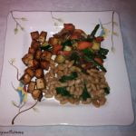 Fancy tofu with beans and mixed veg