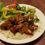 Glazed tofu and rice with a side salad