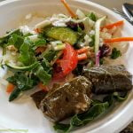 Grape leaf wraps and salad