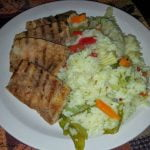 Grilled tofu with rice and mixed veg