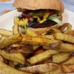 Home fries and veggie burger