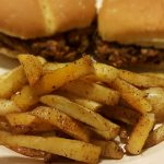 Homemade fries with bean burgers