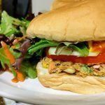 Homemade veggie burger with salad