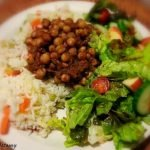 Indian spiced chickpeas with rice and salad