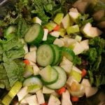 Large salad with tofu and mixed greens