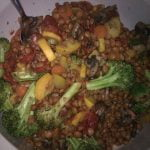 Lentils with mixed veg