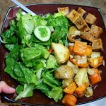 Marinated tofu with potatoes, carrot and salad