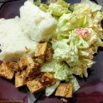 Mashed potatoes with tofu and salad