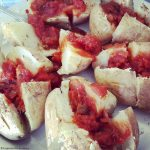 Microwaved potatoes and salsa