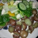 Mini potatoes with salad