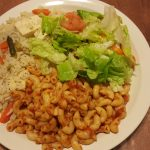 Pasta and rice with salad