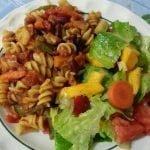 Pasta and veg with mango salad