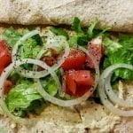 Pita with hummus and veggies