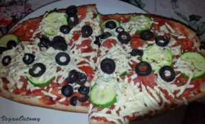 Pizza with vegan cheese