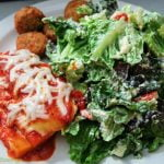 Polenta lasagna with salad