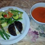 Portabello steak with mixed veg and rice and tomato soup