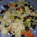 Rice and beans with mixed veg