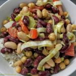 Rice with beans and avocado dressing