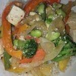 Rice with mixed veg edamame and tofu
