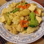 Rice with tofu and mixed veg