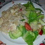 Rice with tofu and side salad