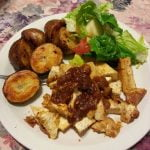 Roasted potato with tofu and salad