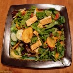 Salad with nectarine and tofu