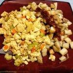 Scrambled tofu and hash brown potatoes