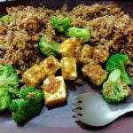 Seasoned rice with tofu and broccoli