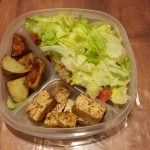 Simple lunch with tofu and potatoes and a side salad