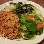 Spaghetti with salad and bok choy
