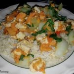 Sweet potato and rice with cooked greens