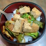 Tofu and rice with Asian veg