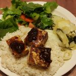 Tofu and rice with balsamic fig sauce