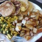 Tofu scrambles with potatoes and pancakes