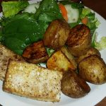 Tofu with potatoes and salad