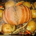 Tofurky roast with potatoes and green and yellow beans