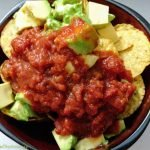 Tortilla chips with salsa and avocado