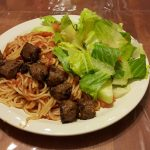 Gardein vegan meat balls and spaghetti