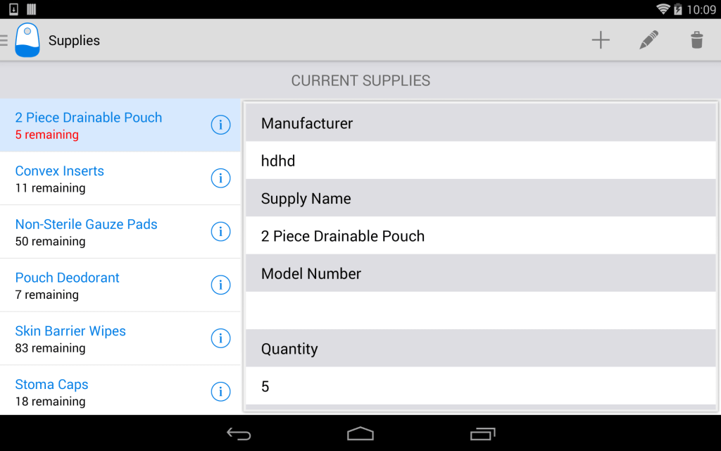 OstoBuddy Supplies list - Tablet UI