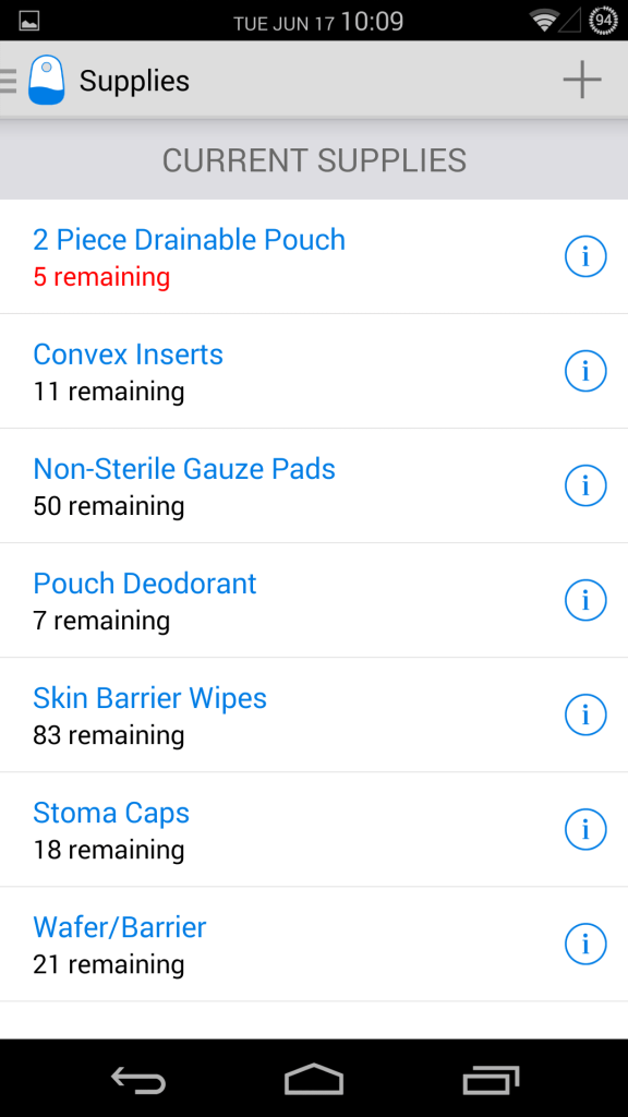Supplies list - Phone UI