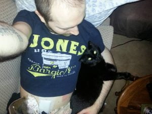 Post ileostomy cat hug