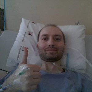 Post-op selfie thumbs up