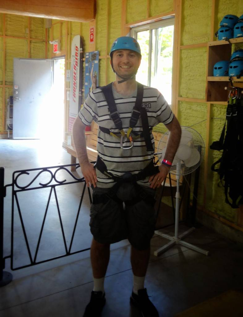 Geared up to go Zip lining
