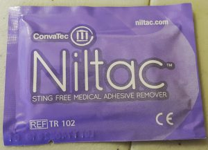 Niltac adhesive remover wipe packet
