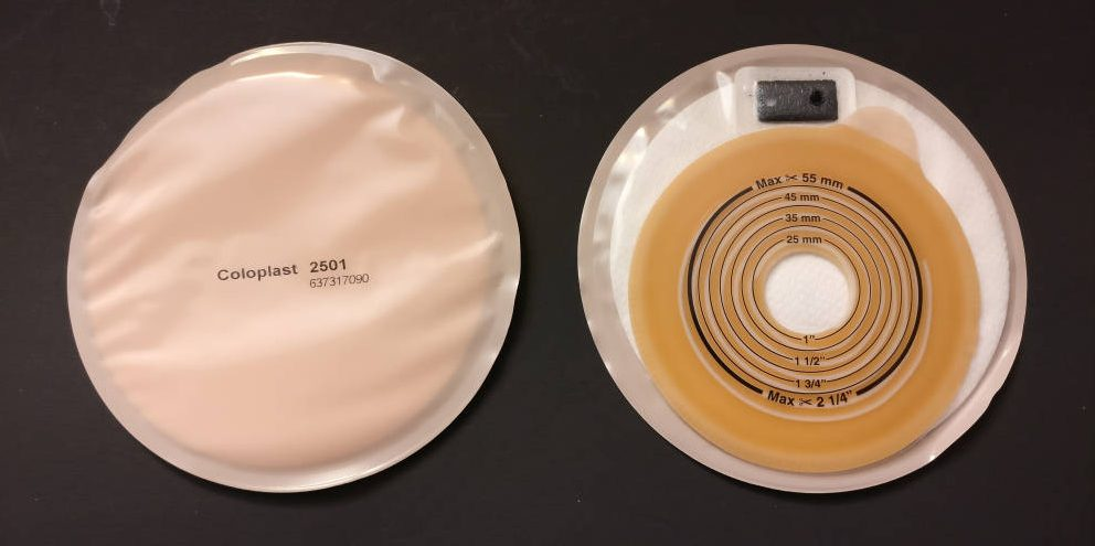 Coloplast Stoma Cap 2501 front and back-small